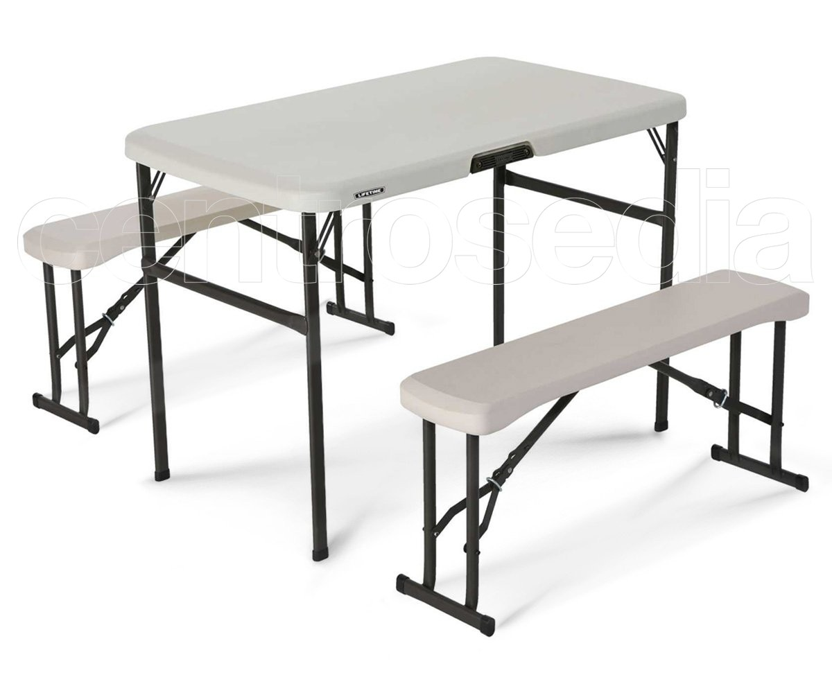 Panche Da Pic Nic.Lifetime 80352 Folding Pic Nic Table With Bench Lifetime Picnic